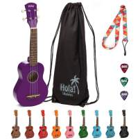 Hola! Music HM-21PP Soprano Ukulele Bundle with Canvas Tote Bag, Strap and Picks, Color Series - Purple