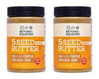 Beyond the Equator 5 Seed Butter Crunchy- Peanut Free, Tree Nut Free, Sunflower Seed, Chia Seed, Flaxseed, Pumpkin Seed, Hemp Hearts, Low Carb, Keto, Non-GMO, 2 Pack, 16 Ounces