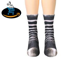 Black Deals Friday Cyber Deals Monday Deals Sales-3D Socks Unisex Funny Animal Paw Print Crew Kids Socks for Womens Mens Christmas Gifts (Adult, Zebra)