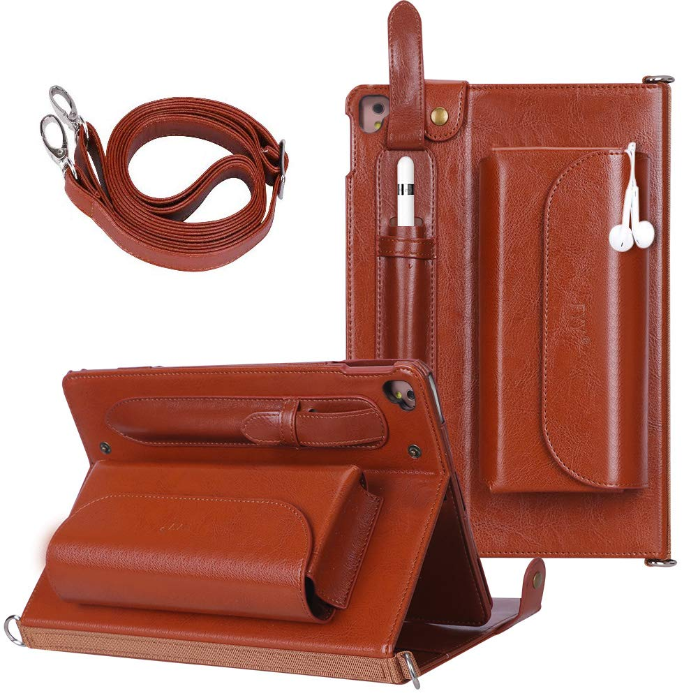 """FYY Case for iPad Pro 9.7 - Luxurious Genuine Leather Case All-Powerful Cover for iPad Pro 9.7"""" (Only Fit for 2016 Edition) Brown (with Exquisite Stylus)"""