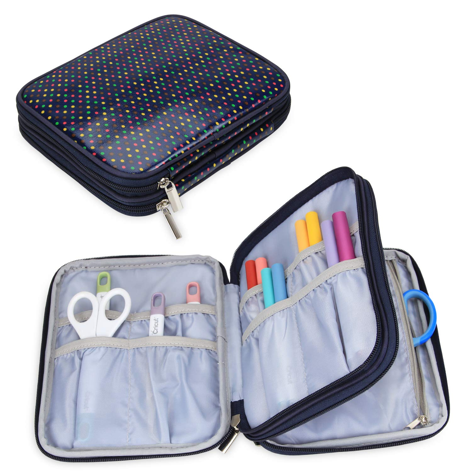 Yarwo Carrying Bag for Cricut Accessories, Organizer Case for Cricut Pen Set and Basic Tool Set Storage, Multi Dots Pattern, Bag Only