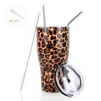 30 oz. Tumbler Double Wall Stainless Steel Vacuum Insulation Travel Mug with Crystal Clear Lid and Straw, Water Coffee Cup for Home,Office,School, Ice Drink, Hot Beverage,Leopard,Slim