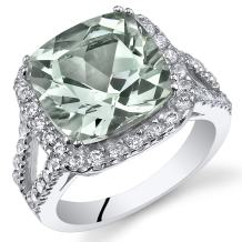 Peora Green Amethyst Ring in Sterling Silver, Statement Halo Design, Cushion Cut, 4.75 Carats total, Comfort Fit, Sizes 5 to 9