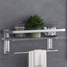 VOLPONE Glass Bathroom Shelf with Towel Bar Rustproof Metal Wall Mounted Storage Floating Shelves for Kitchen Bathroom (1 Pack Silver-Frosted Glass)