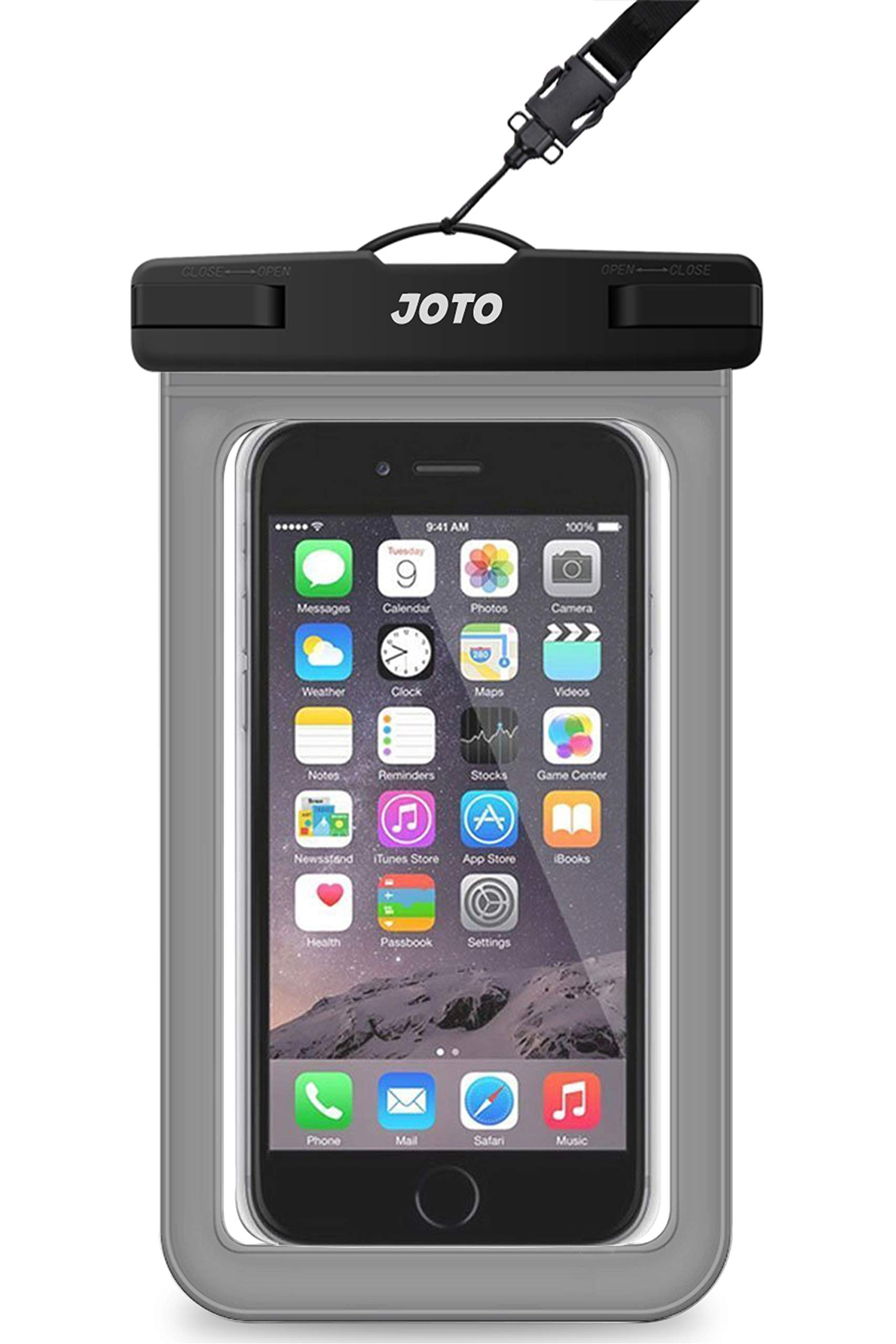 """JOTO Universal Waterproof Pouch Cellphone Dry Bag Case for iPhone 11 Pro Max Xs Max XR X 8 7 6S Plus, Galaxy S20 Ultra S20+ S10 Plus S10e S9 Plus S8/Note 10+ 10 9 8, Pixel 4 XL 3a up to 6.9"""" –Grey"""
