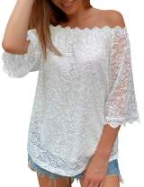 DJT Women's Floral Lace Off Shoulder Tops Casual Loose Blouse Shirts