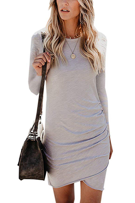 Walant Womens Dresses Solid Color Irregular Hem Long Sleeve Bodycon T Shirt Mini Dress