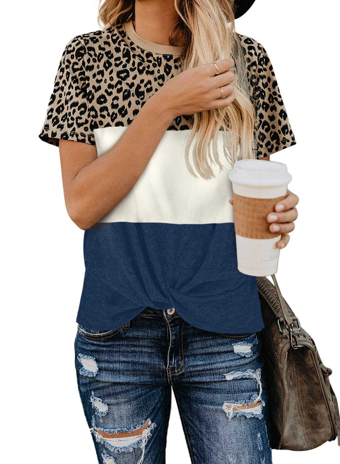EVALESS Women's T Shirt Color Block Leopard Tops Short Sleeve Casual Round Neck Blouse Tees
