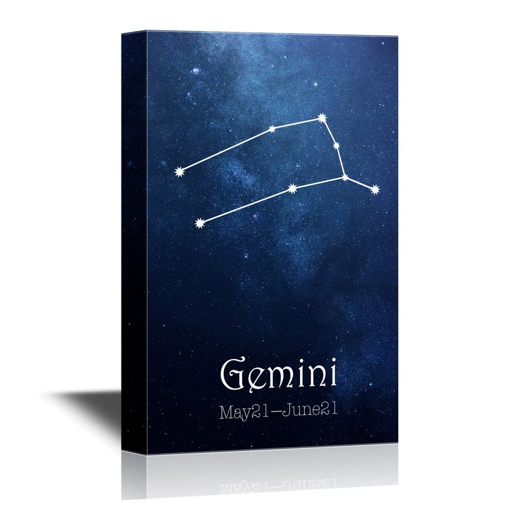 wall26 - 12 Zodiac Signs Constellation Canvas Wall Art - Gemini - Gallery Wrap Modern Home Decor | Ready to Hang - 24x36 inches