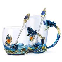 Tea Cup Coffee Mug Glassess Cups & Spoon Beautiful Unique Gift For Women Butterfly Rose (Blue rose 2)