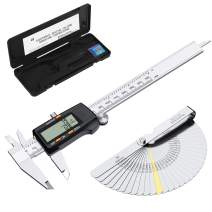 eSynic Digital Vernier Caliper with 32 Blade Feeler Gauge 150mm/6Inch Stainless Steel Body Electronic Caliper Fraction/Inch/Metric Conversion Measuring Tool for Length Width Depth Inner Outer Diameter