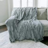 "GRACED SOFT LUXURIES Softest Warm Elegant Cozy Faux Fur Home Throw Blanket (Solid Gray, Extra Large 60"" x 80"")"