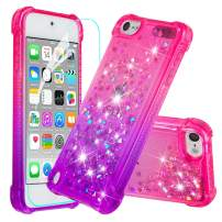 iPod Touch 7 Case, iPod Touch 6 Case, iPod Touch 5 Case with Screen Protector for Girls Women,HAOTP Glitter Bling Quicksand Liquid Protective Case for iPod Touch 7th /6th /5th Gradient Pink/Purple