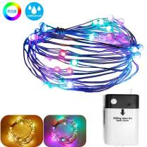 16.4 Feet 50 LED Fairy Lights Outdoor Waterproof Battery Operated Starry String Lights with USB Charge Port Rechargable, Multi-Color and Multi-Modes Best for Bedroom Indoor Outdoor Wedding Party