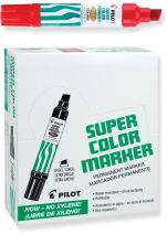 PILOT Super Color Jumbo Refillable Permanent Markers, Xylene-Free Red Ink, Extra-Wide Chisel Point, 12 Count (45300)