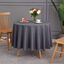 maxmill Jacquard Poly-Cotton Round Tablecloth Geometric Design Waterproof Heavy Weight Soft Table Cloth for Circular Table and Kitchen Dinning Tabletop Decoration, Charcoal, Round 90 Inch