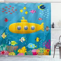 """Ambesonne Yellow Submarine Shower Curtain, Coral Reef with Colorful Fish Ocean Life Marine Creatures Tropic Kid, Cloth Fabric Bathroom Decor Set with Hooks, 75"""" Long, Blue Yellow"""