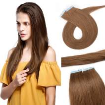 S-noilite 20Pcs 60g Remy Tape in Hair Extensions Human Hair Seamless Skin Weft Invisible Double Sided Glue in hair for women Silky Straight 22 Inch #06 Light Brown Color