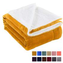 "VOTOWN HOME Sherpa Blanket Twin Cozy Soft Plush Blanket Reversible Warm Winter Blanket for Sofas Micro Fleece Fabric, Ginger Yellow Twin Size 60""x80"""