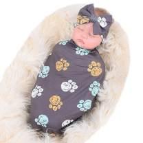 Bucaum Newborn Receiving Blanket Headband Set Flower Print Baby Swaddle Receiving Blankets (Grey Bear Palm)