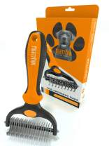 Mighty Paw Dog Grooming Rake | Dematting Pet Comb with Dual-Sided Stainless Steel Rounded Teeth. Safe Tool for Detangling, Thinning, & Deshedding All Hair Types. Ergonomic Handle for Comfort