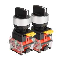 APIELE[3 Year Warranty] 22mm 2 Position Selector Switch 10A 440V Push Button Switch Maintained (Pack of 2)