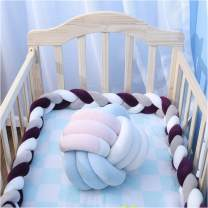 "EASTSURE Baby Crib Bumper Knotted Braided Plush Nursery Cradle Decor Newborn Gift Pillow Cushion Junior Bed Sleep Bumper,Grey,White and Purple,39"""