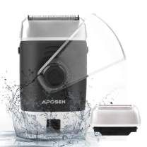 APOSEN Electric Razor for Men, Cordless Travel Electric Shaver with Pop-up Trimmer, USB Rechargeable, Wet & Dry Foil Shaver, Black