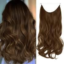 Long Wavy Hair Extensions Secret Wire Hidden Extensions Curly Hairpieces Transparent Hidden Elastic Fish Wire Synthetic Wavy Hair Extensions for Women No Clip 20 Inch 4.4 Oz (Light Chestnut Brown)