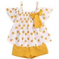 Toddler Baby Girls Clothes Ruffle Off Shoulder Bowknot Fruit Print Tank Top + Short Pants Summer Outfit Set