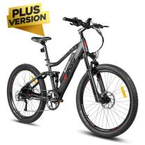 Eahora AM100 Plus 48V Mountain Electric Bike Air Full Suspension, Dual Hydraulic Brakes, 350W Urban Electric Bikes for Adults Removable Lithium Battery, Power Recharge System, 9-Speed Gear, Black Red