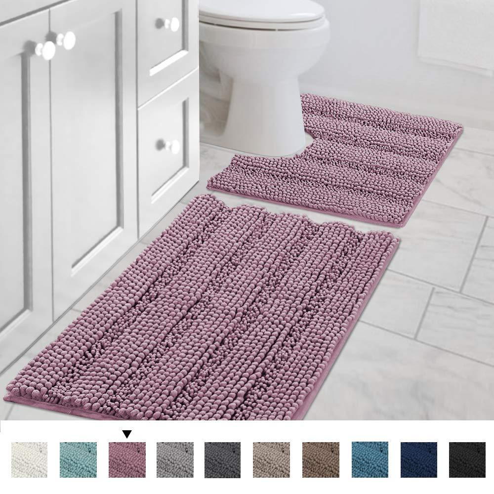 "H.VERSAILTEX Bath Rug Set 2 Piece for Bathroom Non Slip Thick Chenille Bath Rugs Contour and Rectangle, Water Absorbent Fluffy Shag Mats Machine Washable (20"" x 32"" Plus 20"" x 20"" U, Mauve)"