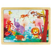 ROBUD Animals Wooden Jigsaw Puzzle with Storage Tray Educational Learning Toys for Kids Ages 3