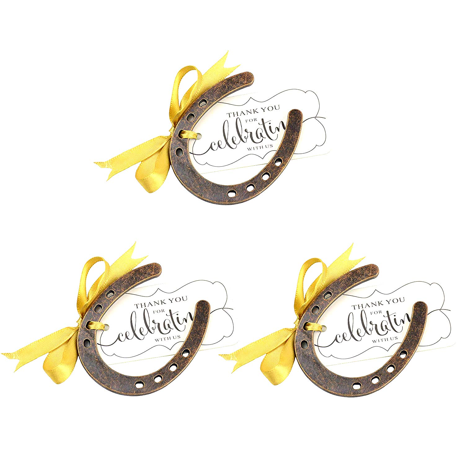 Aokbean 24pcs Lucky Horseshoe Party Favors with Fench Ribbons and Stand for Rustic Wedding Baby Shower Decoration Barn Wedding Christmas Santa Horseshoe Tree and Thank You Place Card for Party Gift