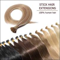 """Pre Bonded Cold Fusion Hairpiece I Tip Hand Tied Hair Extensions Human Hair Highlighted Golden Brown & Bleach Blonde 20 Inch Soft Straight Remy Hair Stick Tips—20"""" #12&613 50g 100 Strands"""