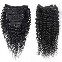 ZILING Curly Clip in Hair Extensions Human Hair for Black Women 8A Brazilian 3C 4A Kinkys Curly Real Hair Extensions Clip in Human Hair Natural Color 10pcs 120g/Set (Clip in hair,18 Inch)
