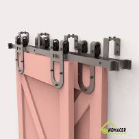 Homacer Sliding Barn Door Hardware Bypass Double Door Kit, 4FT Flat Track U-Shape Bracket Horseshoe Design Roller, Black Rustic Heavy Duty Interior Exterior Use