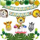 Jungle Theme Safari Baby Shower Decorations With Welcome Baby Banner, Palm Leaves, Animal Cupcake Toppers, Paper Lanterns, Pompoms, Neutral Party Decorations for Boy or Girl Birthday