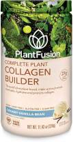 PlantFusion Collagen Builder Plant Based Peptides Protein Powder | Vegan Collagen Supplement |Collagen Building, Skin Hydration, Joint Support, Healthy Hair, Gluten-Free, Non-GMO, Vanilla, 11.42 Oz