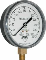 """Winters PFE Series Single Scale Sprinkler Pressure Gauge, 3-1/2"""" Dial, 0-300 psi Range, +/-3-2-3% Accuracy, 1/4"""" Male NPT Bottom Connection, For Air/Water Media"""
