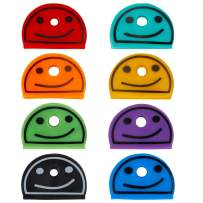 Uniclife 24 PCS Key Cap Covers Smile Face Identifier in 8 Assorted Colors for House Key Label Tags