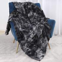 Bonzy Home Luxury Faux Fur Throw Blanket, Super Soft Fuzzy Cozy Warm Fluffy Plush Hypoallergenic Reversible Blankets for Bed Couch Chair Fall Winter Spring Living Room (50 x 60) - Black Tie Dye