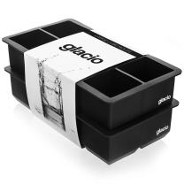 glacio Large Ice Cube Trays for Whiskey - Silicone Ice Tray Molds for making 8 Giant Ice Cubes - 2 Pack