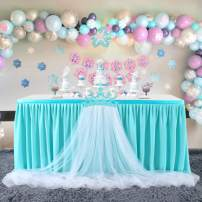 Tulle Table Skirt Blue Tutu Table Skirts for Birthday Party Wedding Baby Shower Cake Dessert Decoration for Rectangle Tables 6ft