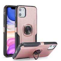 DEFBSC iPhone 11 Pro Max Phone Case with Ring Kickstand,360 Degree Rotating Ring Kickstand Case Fit Magnetic Car Mount with Hybrid Dual Layer Armor for iPhone 11 Pro Max 6.5 Inch,Rose Gold