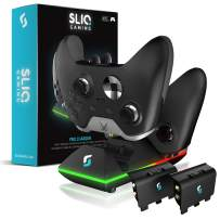 Sliq Xbox One/One X/One S Controller Charger Station and Battery Pack - Includes 2 Rechargeable Batteries - Also Compatible with Elite and PC Versions (Black)
