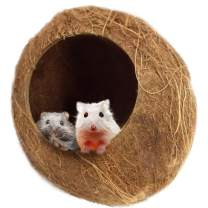 SunGrow Coconut Shell House for Hamsters, 14-16 Inches Circumference, Raw Coco Husk, Pet Hiding House, Climber or Chew Toy, for Mice, Rats, Gerbils