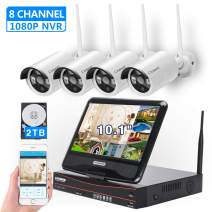 "[8CH,Expandable]All in one with 10.1"" Monitor Wireless Security Camera System, Cromorc Home Business CCTV Surveillance 8CH 1080P NVR, 4pcs 1.3MP 960P Outdoor Indoor Night Vision Camera, 2TB Hard Drive"