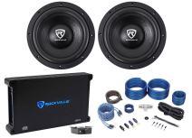 """(2) Rockville W10K6D2 V2 10"""" 4000w Car Audio Subwoofers+Mono Amplifier+Amp Kit"""