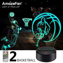 AmazeFan Basketball Night Light for Kids - 3D Basketball Night Lamp 7 Colors Optical Illusion Touch & Remote Control with 2 Acrylic Flats Best Birthday Christmas New Year Gifts for Boys Girls Baby